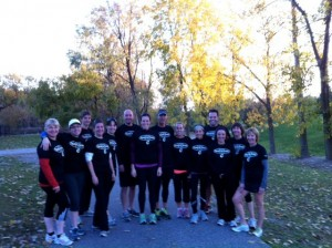 The group preparing for race day on their final training run.